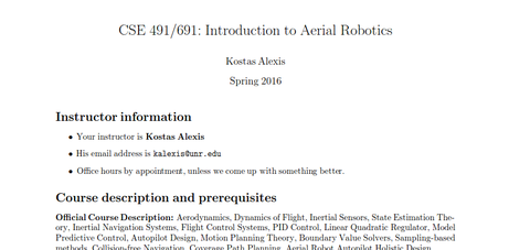 Introduction to Aerial Robotics - Dr  Kostas Alexis
